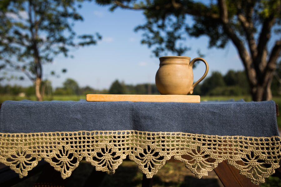 tablecloth blue/beige